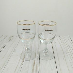 Other - Pair of Gold Clover Stem Wine Glasses Chalices